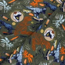 Poppy Sweatshirt fabric - khaki Skating Dino x 10cm