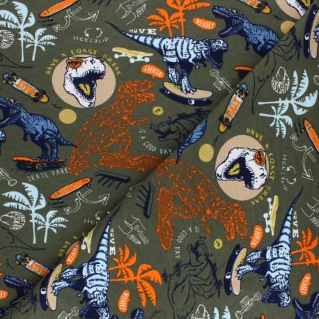 Tissu sweat Poppy Soft Dino Skating - kaki x 10cm