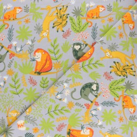 French Terry Fabric - Grey Monkey Party x 10cm