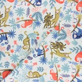 French Terry Fabric - Light Blue Monkey Party x 10cm