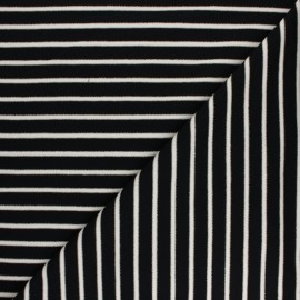 French terry fabric raw and lurex stripes Thabor - black x 10cm