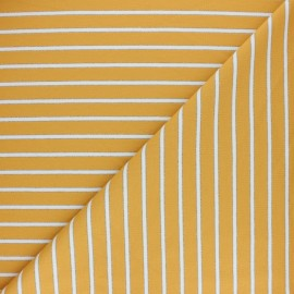 French terry fabric raw and lurex stripes Thabor - yellow x 10cm