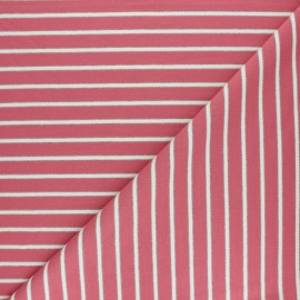 French terry fabric raw and lurex stripes Thabor - pink x 10cm