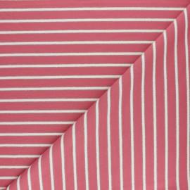 Tissu Sweat léger Rayé Thabor - rose x 10cm