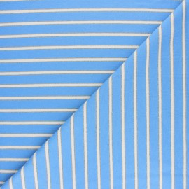 French terry fabric raw and lurex stripes Thabor - blue x 10cm
