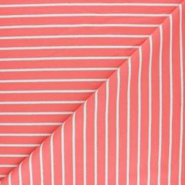 Tissu Sweat léger Rayé Thabor - corail x 10cm