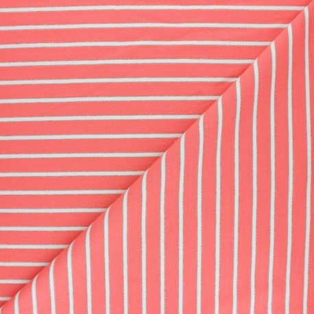 French terry fabric raw and lurex stripes Thabor - coral x 10cm