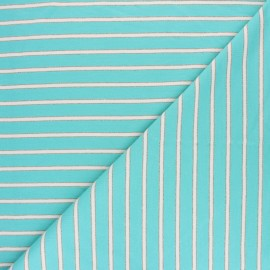 French terry fabric raw and lurex stripes Thabor - turquoise x 10cm