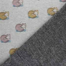 Tissu sweat envers minkee Renardo - gris clair x 10cm