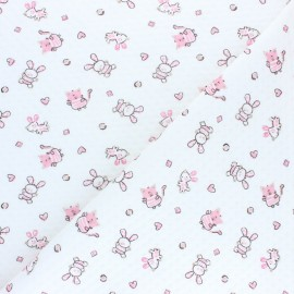 Stitched quilted jersey fabric - white Lapinou x 10cm