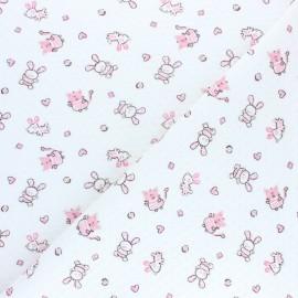 Tissu jersey matelassé piqué Lapinou - Blanc x 10cm