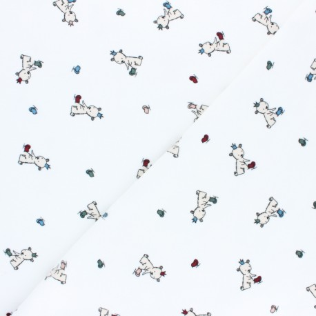 Tissu jersey velours éponge Baby teddy - blanc x10cm