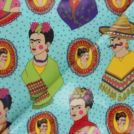Alexander Henry coated cotton fabric - turquoise blue Frida x 45cm