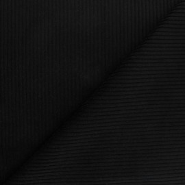 Thick ribbed velvet fabric - black x 10cm