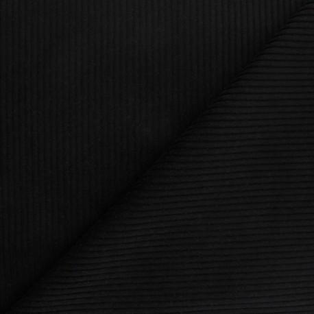 Thick ribbed velvet fabric - black x 10cm