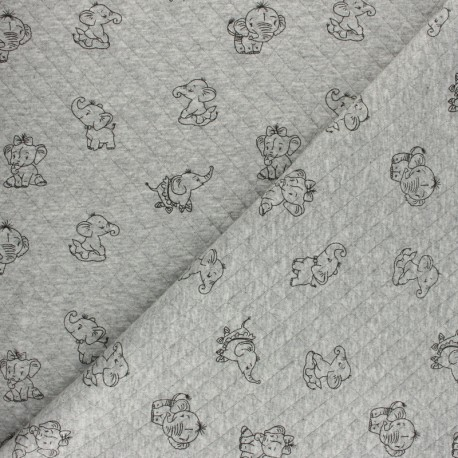 Quilted jersey fabric Diamonds 10/15 - grey Elepho x 10cm