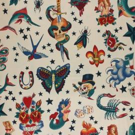 Alexander Henry fabric - Beige Tattoo x 10cm