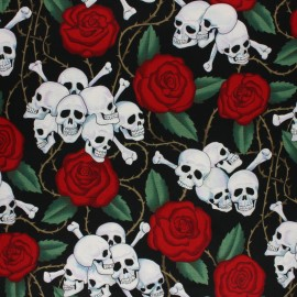 Tissu Alexander Henry Rose Tattoo - Beige x 10cm