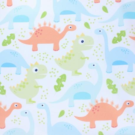 Blend Fabrics Cotton Fabric - white Dino-mite x 10cm