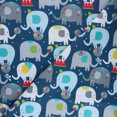 Blend Fabrics Cotton Fabric - Navy blue Elephant Picadilly x 10cm