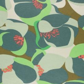 Viscose Jersey Fabric - Green Vintage Nympheas x 10 cm
