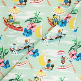 Tissu coton Blend fabrics Out to sea Gondole - vert x 10cm
