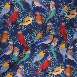 Tissu coton Blend fabrics - Birdie- Floral Bird - bleu x 10 cm