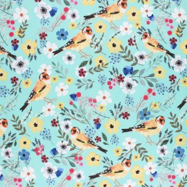 Blend Fabrics Cotton Fabric - blue Floral Bird x 10 cm