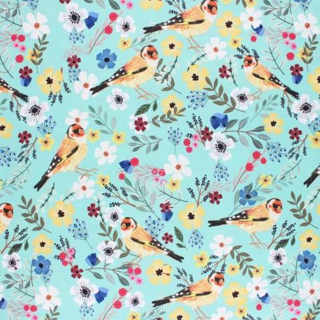 Blend Fabrics Cotton Fabric - blue Floral Bird x 10 cm