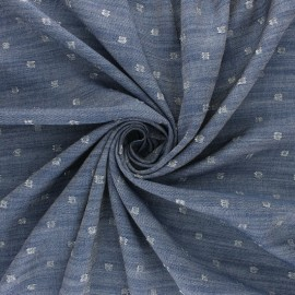 Lurex Viscose Chambray fabric - silver Soleillo x 10cm