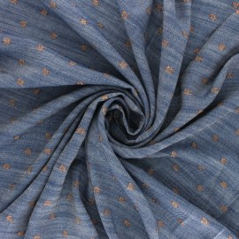 Lurex Viscose Chambray fabric - copper Soleillo x 10cm