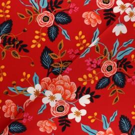 Tissu viscose Cotton Steel Rifle Paper Co. - Les Fleurs Rouge x 10cm
