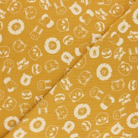 Double cotton gauze fabric - mustard Têtes d'Animaux x 10cm