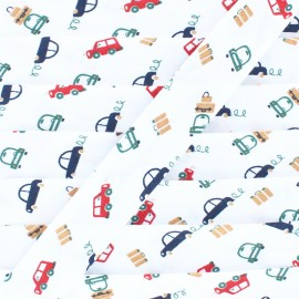 20 mm Polycotton Bias Binding - Little Car White x 1m