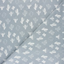 Washed cotton fabric - Grey Little lion x 10cm