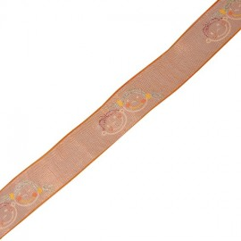 Organza single-sided ribbon, Pupils - Orange