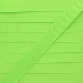 20 mm Silk Effect Grosgrain Ribbon - Neon Green x 1m