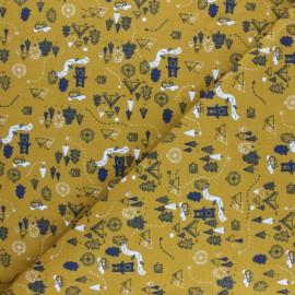 Tissu sweat Poppy Funky stripes - moutarde x 10cm