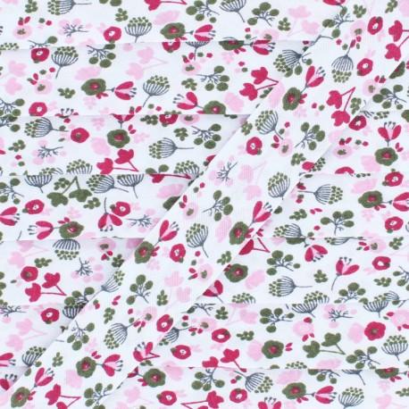 Biais Polycoton Fleur des Champs 20 mm - Fuchsia x 1m
