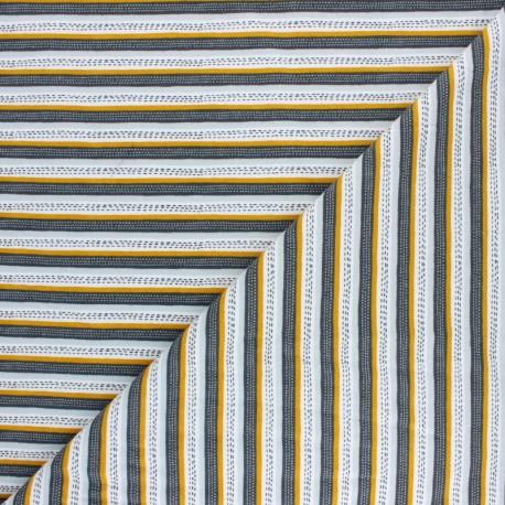Poppy Sweatshirt fabric - mustard Hunting Bear x 10cm