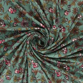 Flowery Modal jersey fabric - Green Camilla x 10cm