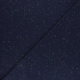 Mottled neon Cotton Jersey fabric - navy blue x 10cm