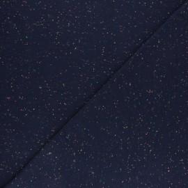 Tissu jersey moucheté fluo - bleu marine x 10cm