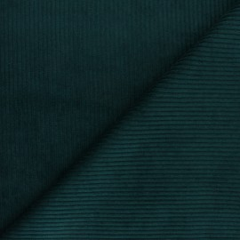 Thick ribbed velvet fabric - Pine green x 10cm
