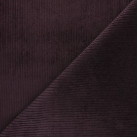 Thick ribbed velvet fabric - eggplant x 10cm
