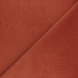 Thick ribbed velvet fabric - carrot orange x 10cm