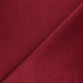 Thick ribbed velvet fabric - Cardinal red x 10cm