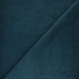 Thick ribbed velvet fabric - Petrol blue x 10cm