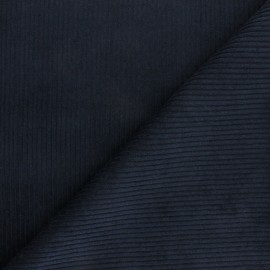 Thick ribbed velvet fabric - Navy blue x 10cm