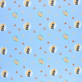 Cotton jersey fabric - Blue Little Adventurers logo x 10cm
